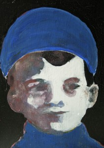 Jongen blauwe muts miniatuur 2014